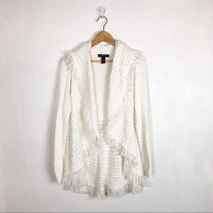 Style & Co white knit fringe open cardigan